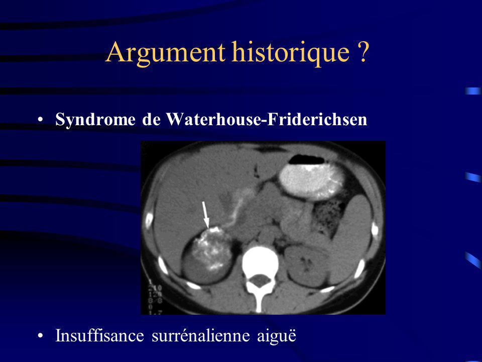 Argument historique Syndrome de Waterhouse-Friderichsen