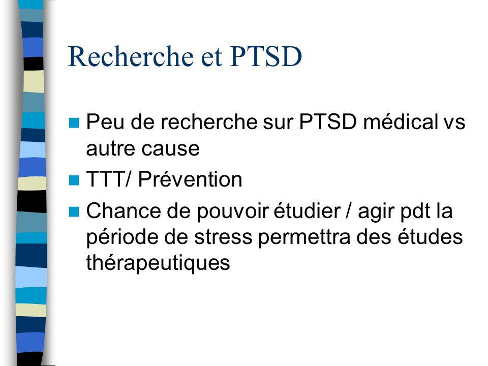 Recherche et PTSD Peu de recherche sur PTSD médical vs autre cause