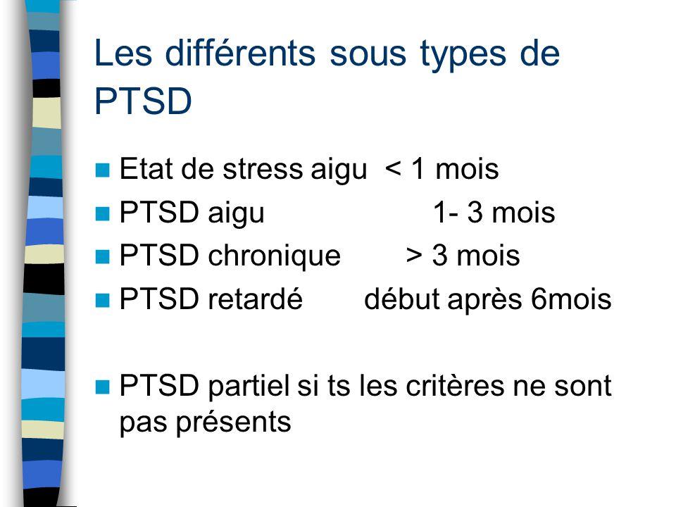 Les différents sous types de PTSD
