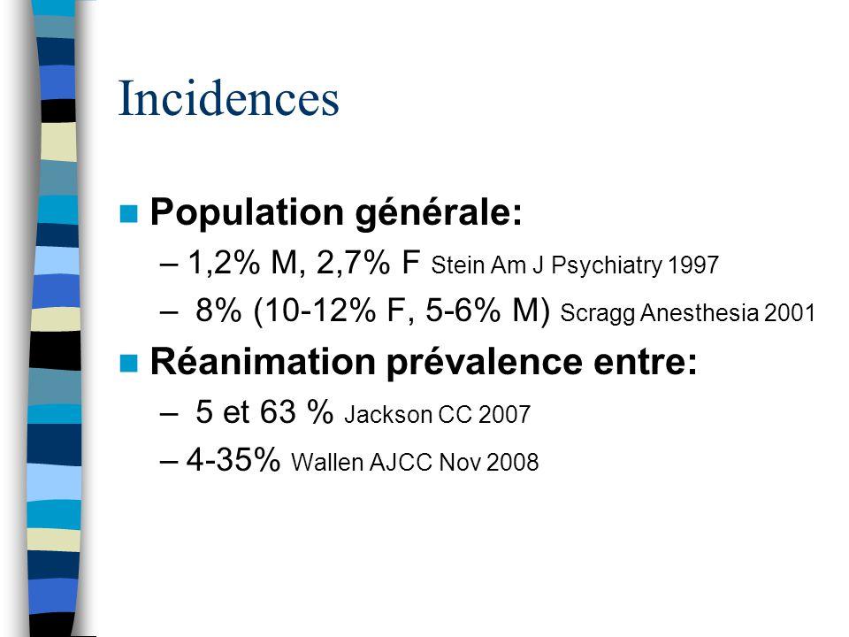 Incidences Population générale: Réanimation prévalence entre: