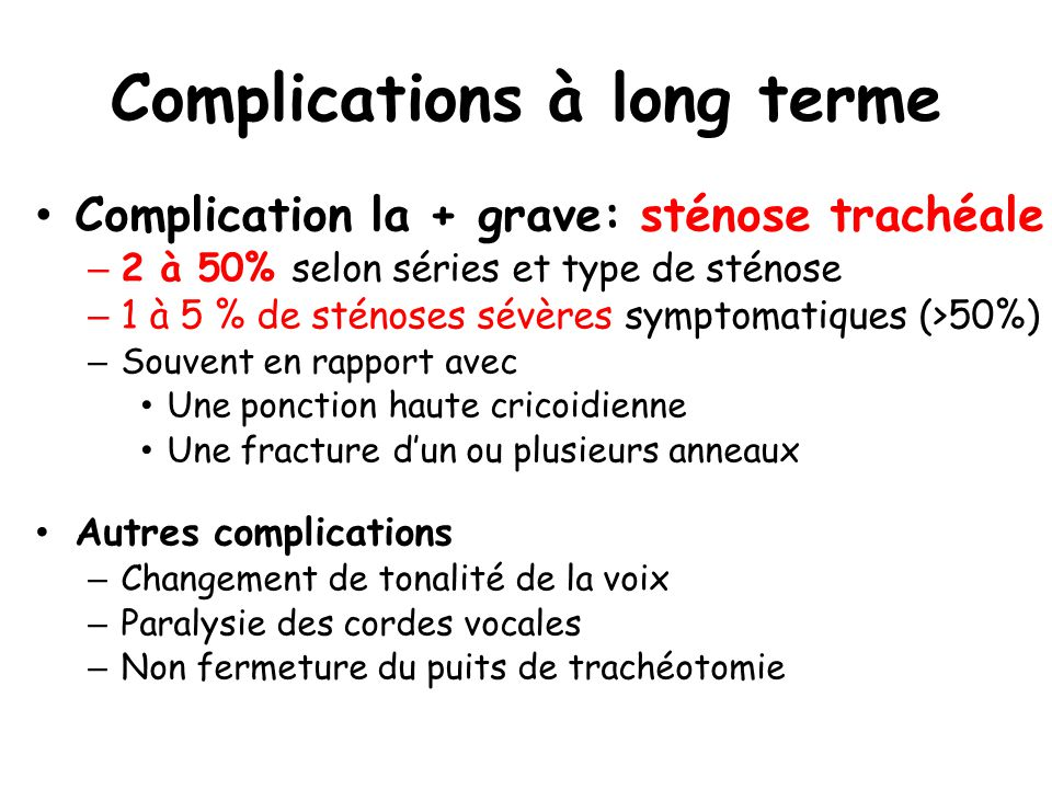 Complications à long terme