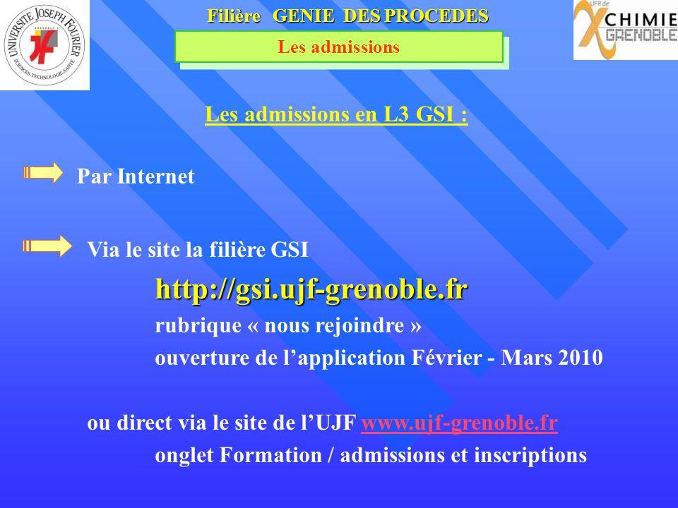 Filière GENIE DES PROCEDES Les admissions en L3 GSI :