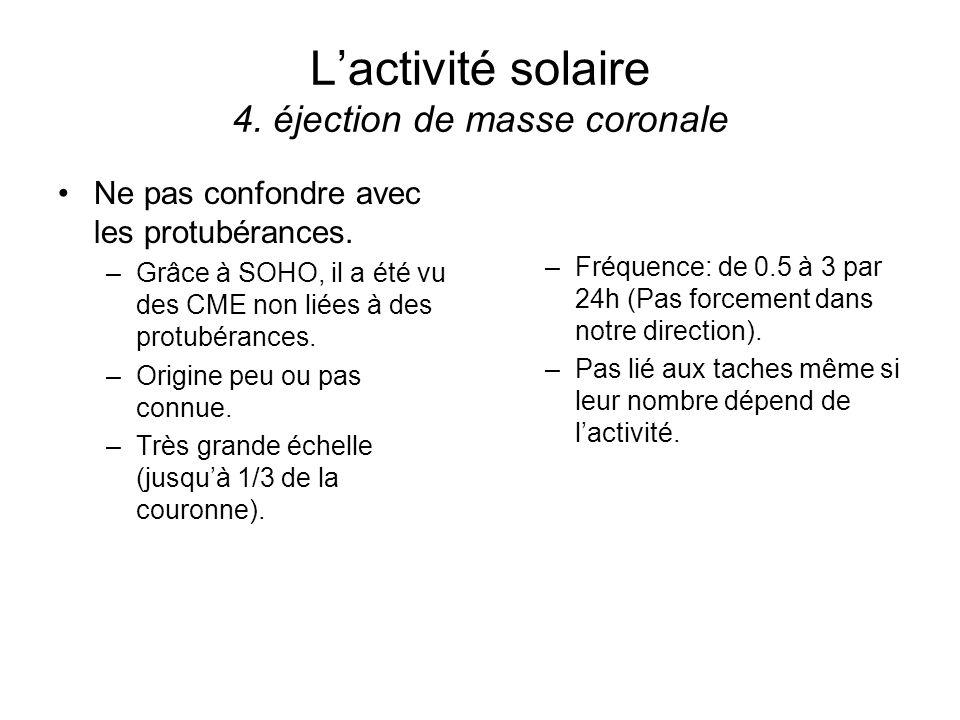 L'activité solaire 4. éjection de masse coronale