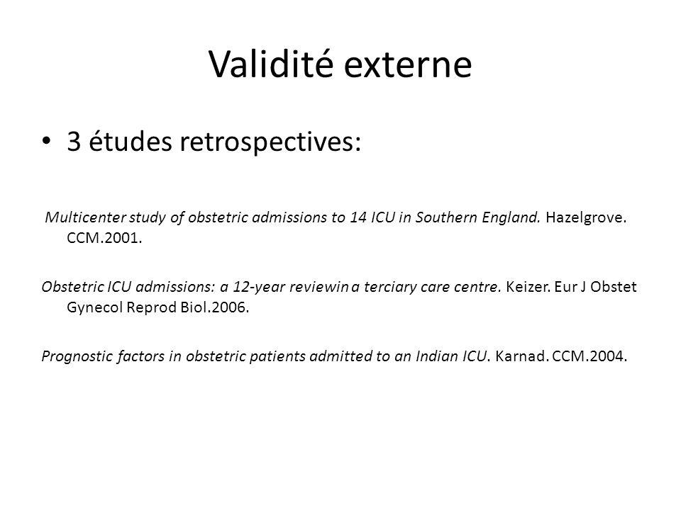 Validité externe 3 études retrospectives: