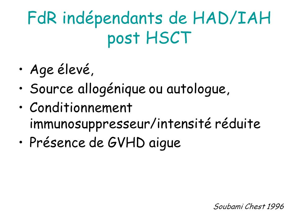 FdR indépendants de HAD/IAH post HSCT
