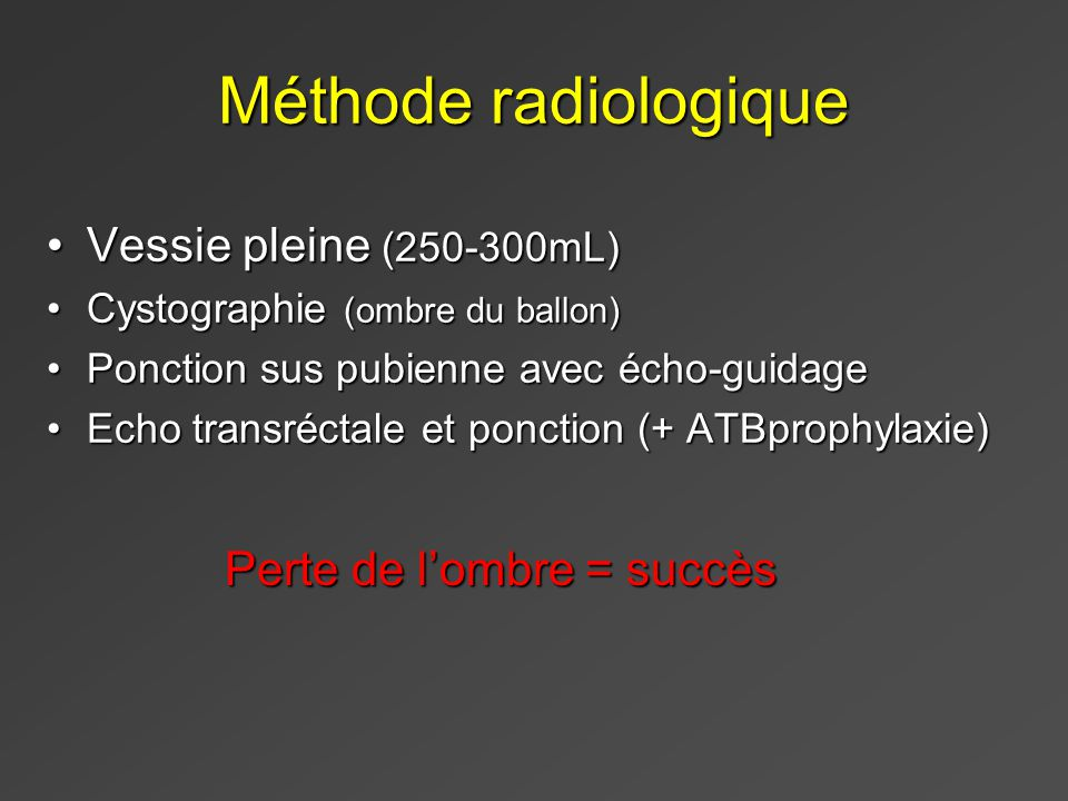 Méthode radiologique Vessie pleine (250-300mL)