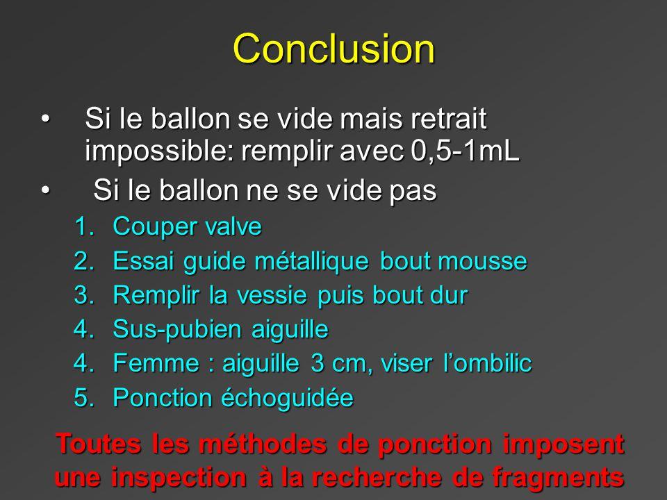 Conclusion Si le ballon se vide mais retrait impossible: remplir avec 0,5-1mL. Si le ballon ne se vide pas.