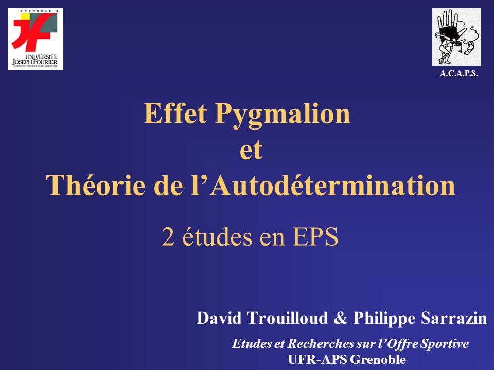 Effet Pygmalion et Théorie de l'Autodétermination 2 études en EPS
