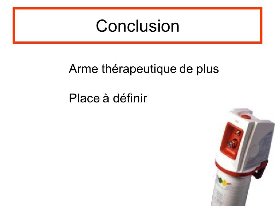 Conclusion Arme thérapeutique de plus Place à définir