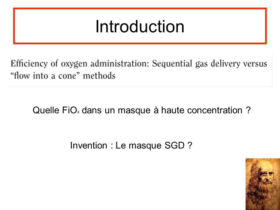 Introduction Quelle FiO² dans un masque à haute concentration