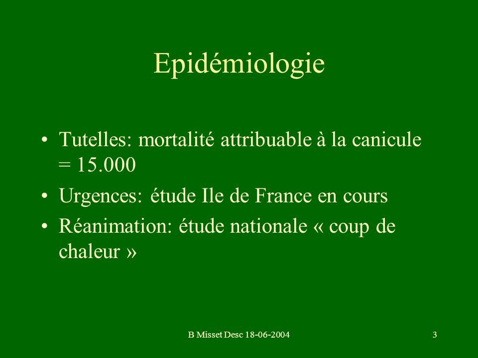 Epidémiologie Tutelles: mortalité attribuable à la canicule = 15.000