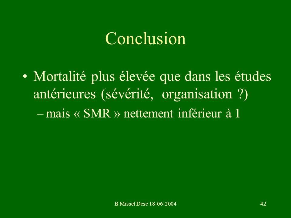 Conclusion Mortalité plus élevée que dans les études antérieures (sévérité, organisation ) mais « SMR » nettement inférieur à 1.