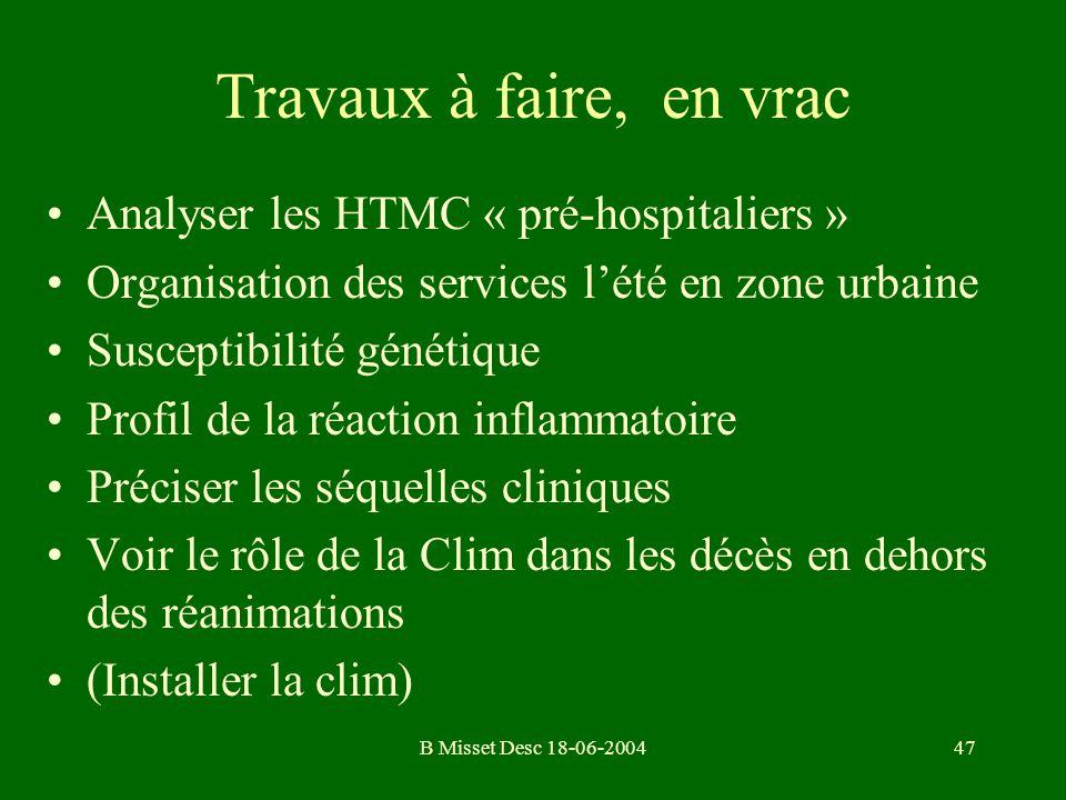 Travaux à faire, en vrac Analyser les HTMC « pré-hospitaliers »