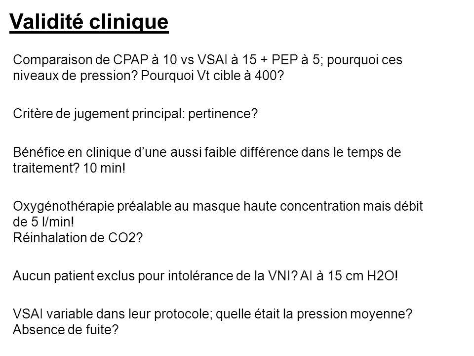 Validité clinique Comparaison de CPAP à 10 vs VSAI à 15 + PEP à 5; pourquoi ces niveaux de pression Pourquoi Vt cible à 400