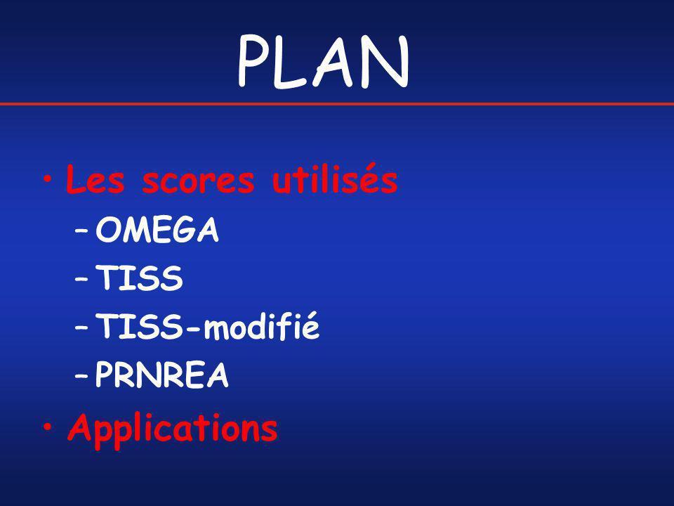 PLAN Les scores utilisés OMEGA TISS TISS-modifié PRNREA Applications