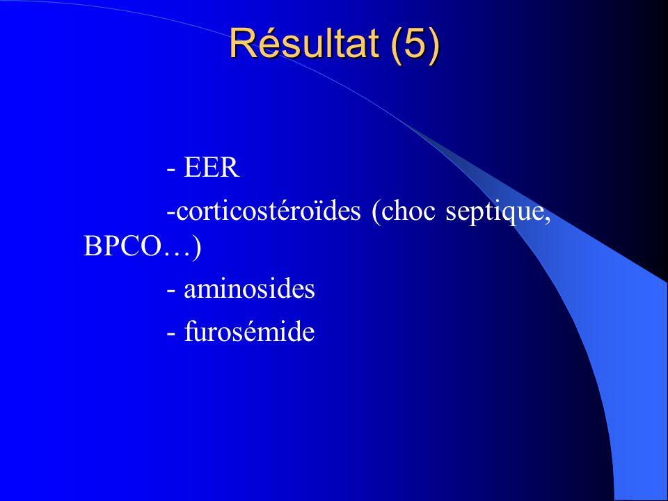 Résultat (5) - EER -corticostéroïdes (choc septique, BPCO…)