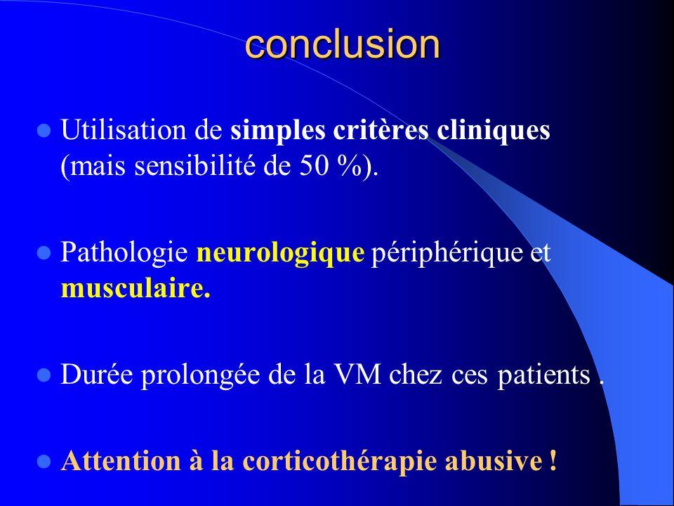 conclusion Utilisation de simples critères cliniques (mais sensibilité de 50 %). Pathologie neurologique périphérique et musculaire.