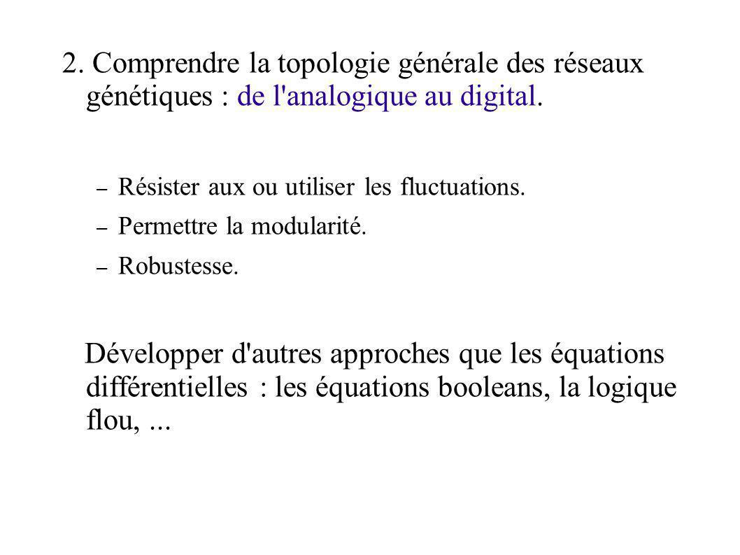 2. Comprendre la topologie générale des réseaux génétiques : de l analogique au digital.