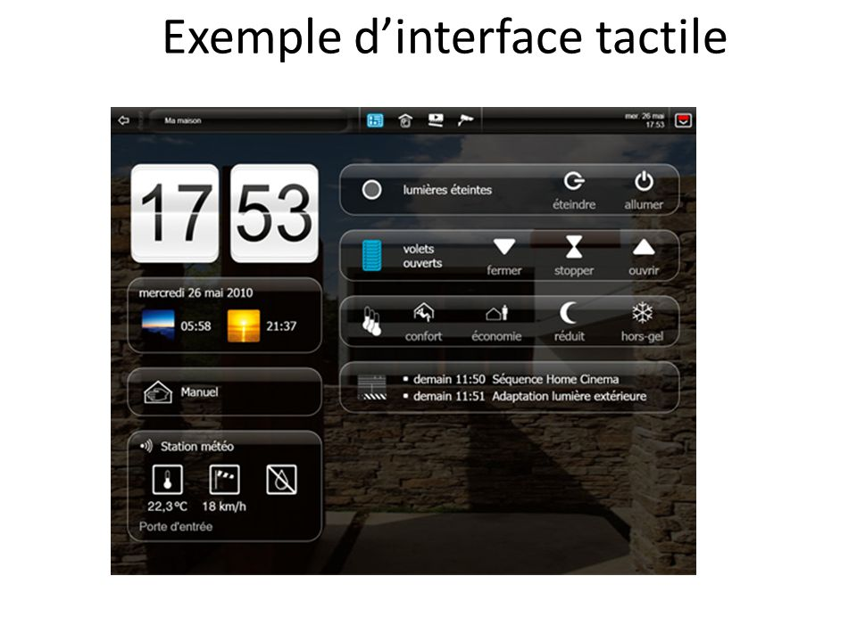 Exemple d'interface tactile