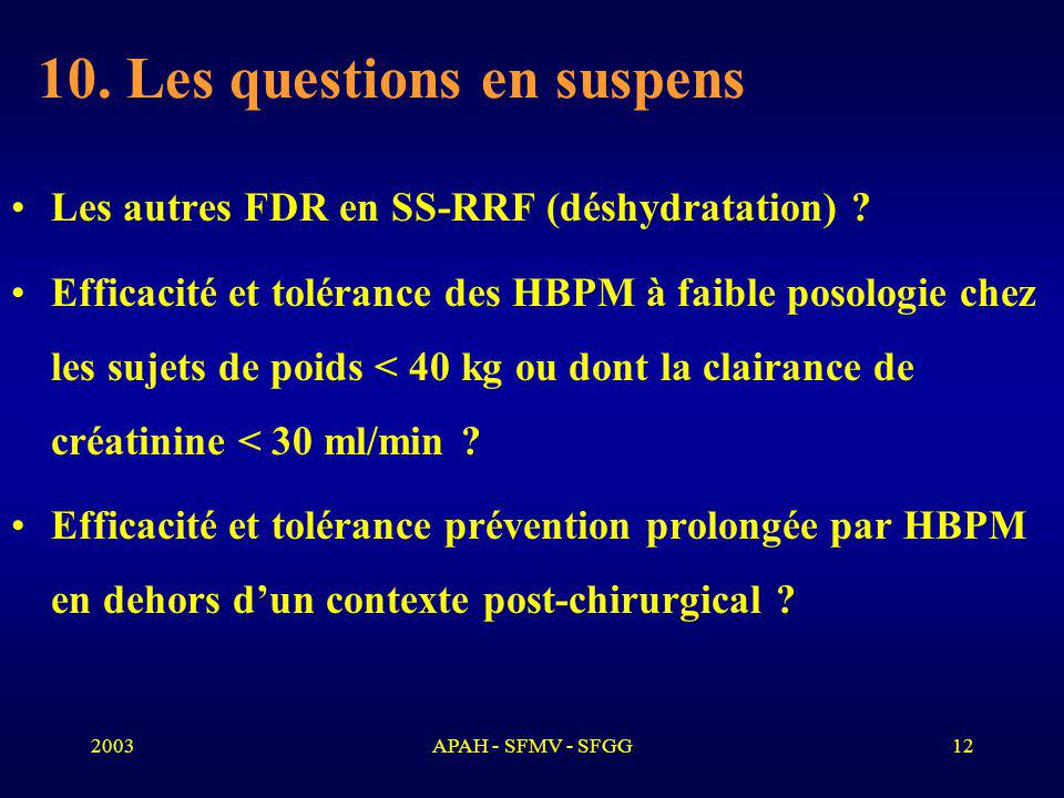 10. Les questions en suspens