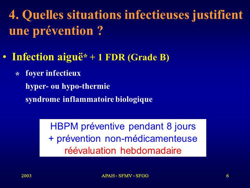 4. Quelles situations infectieuses justifient une prévention