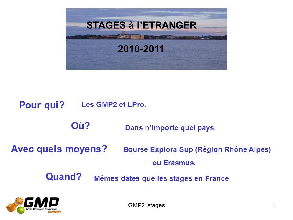 STAGES à l'ETRANGER 2010-2011 Pour qui Où Avec quels moyens Quand