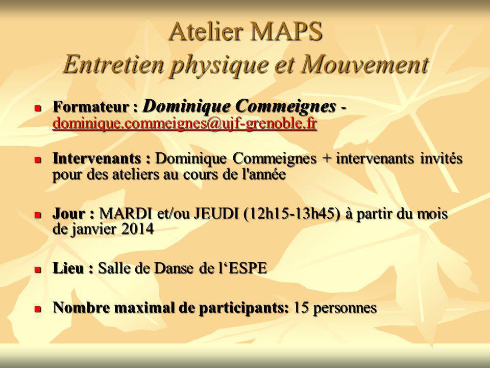 Atelier MAPS Entretien physique et Mouvement