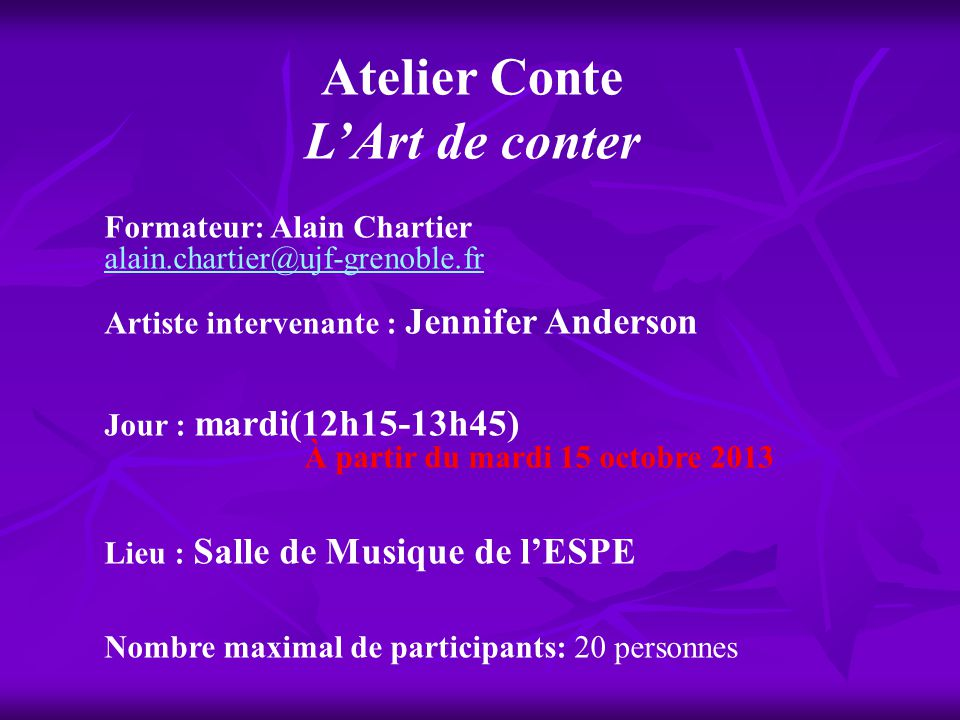 Atelier Conte L'Art de conter
