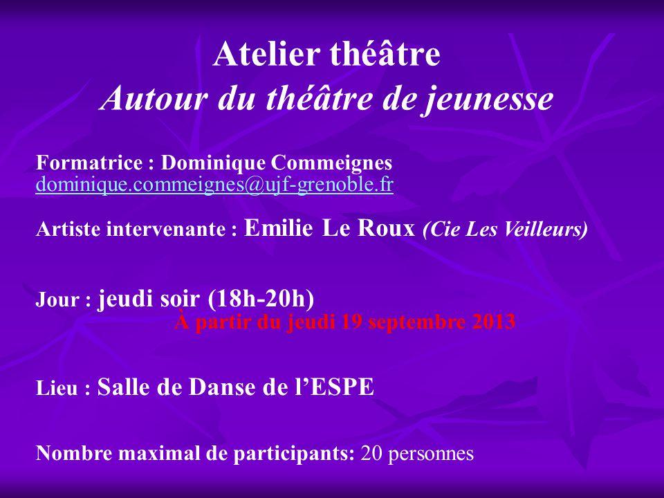 Atelier théâtre Autour du théâtre de jeunesse
