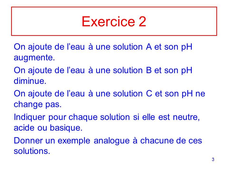 Exercice 2 On ajoute de l'eau à une solution A et son pH augmente.