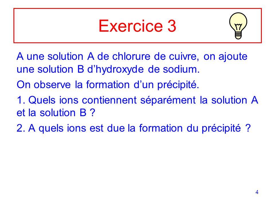 Exercice 3 A une solution A de chlorure de cuivre, on ajoute une solution B d'hydroxyde de sodium. On observe la formation d'un précipité.