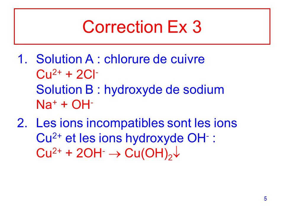 Correction Ex 3 Solution A : chlorure de cuivre Cu2+ + 2Cl- Solution B : hydroxyde de sodium Na+ + OH-
