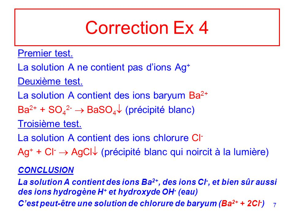Correction Ex 4 Premier test. La solution A ne contient pas d'ions Ag+