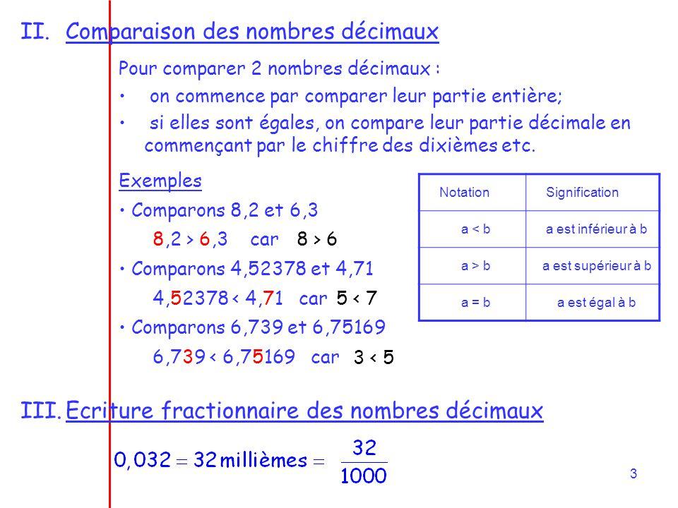 Comparaison des nombres décimaux