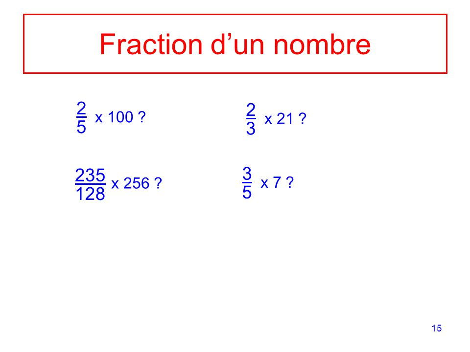 Fraction d'un nombre 2 5 x 100 2 x 21 3 235 3 x 256 x 7 128 5