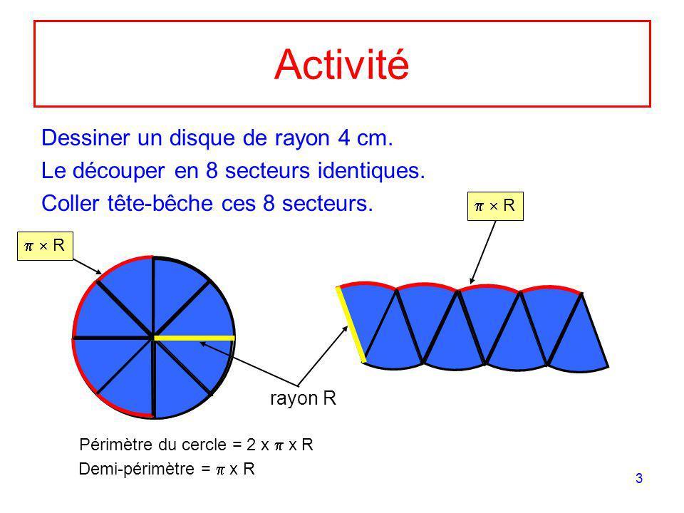 Activité Dessiner un disque de rayon 4 cm.