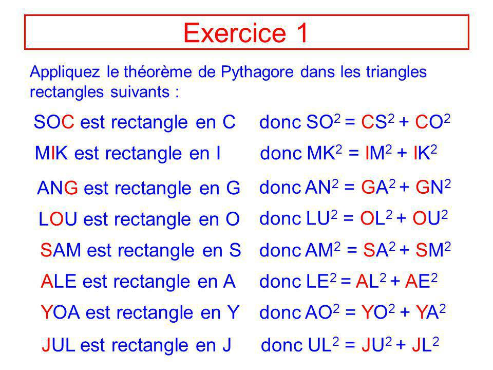 Exercice 1 SOC est rectangle en C donc SO2 = CS2 + CO2