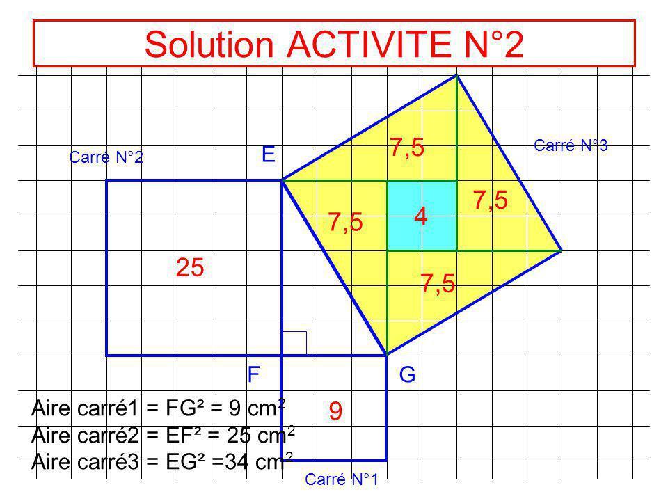 Solution ACTIVITE N°2 7,5 7,5 4 7,5 25 7,5 9 E F G
