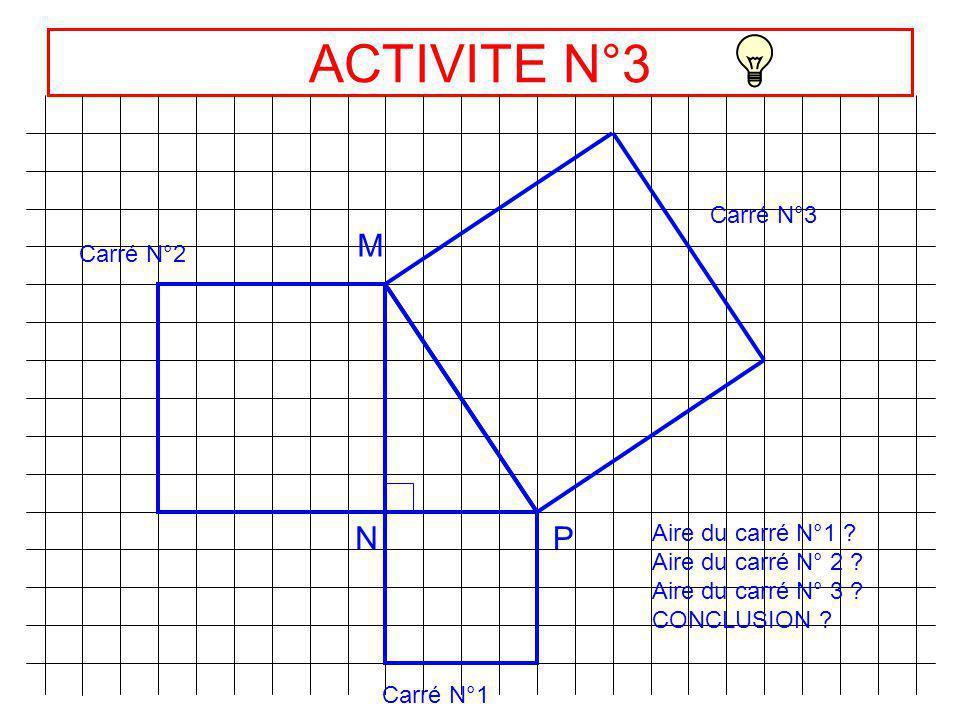 ACTIVITE N°3 M N P Carré N°3 Carré N°2 Aire du carré N°1