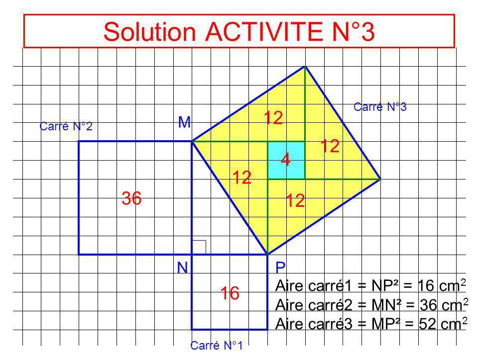 Solution ACTIVITE N°3 12 12 4 12 36 12 16 M N P
