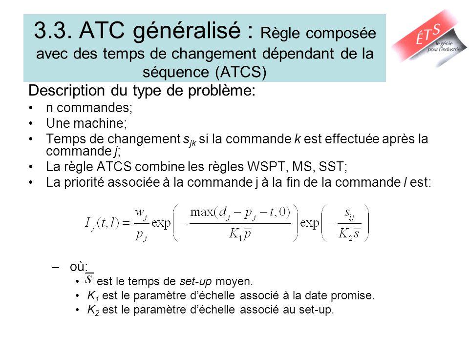 3.3. ATC généralisé : Règle composée avec des temps de changement dépendant de la séquence (ATCS)