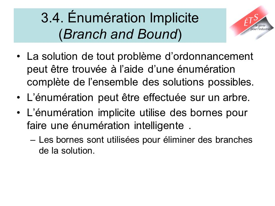 3.4. Énumération Implicite (Branch and Bound)