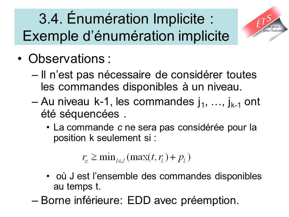 3.4. Énumération Implicite : Exemple d'énumération implicite