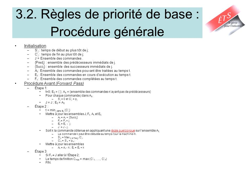 3.2. Règles de priorité de base : Procédure générale