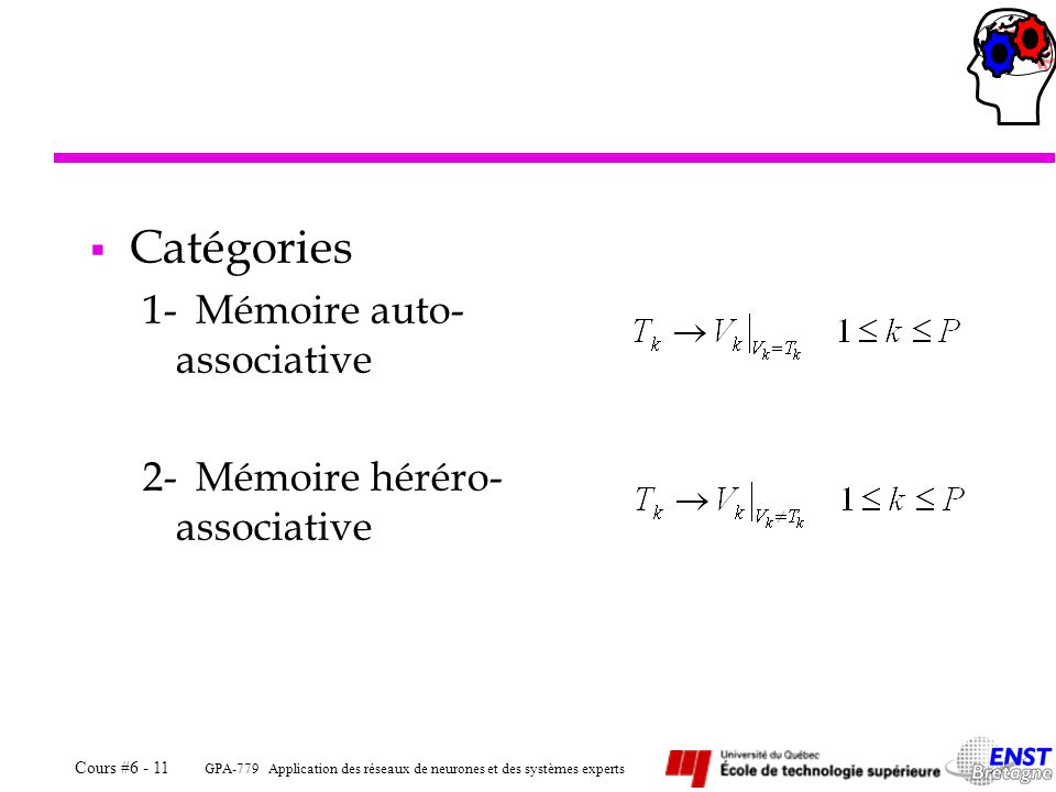 Catégories 1- Mémoire auto-associative 2- Mémoire héréro-associative