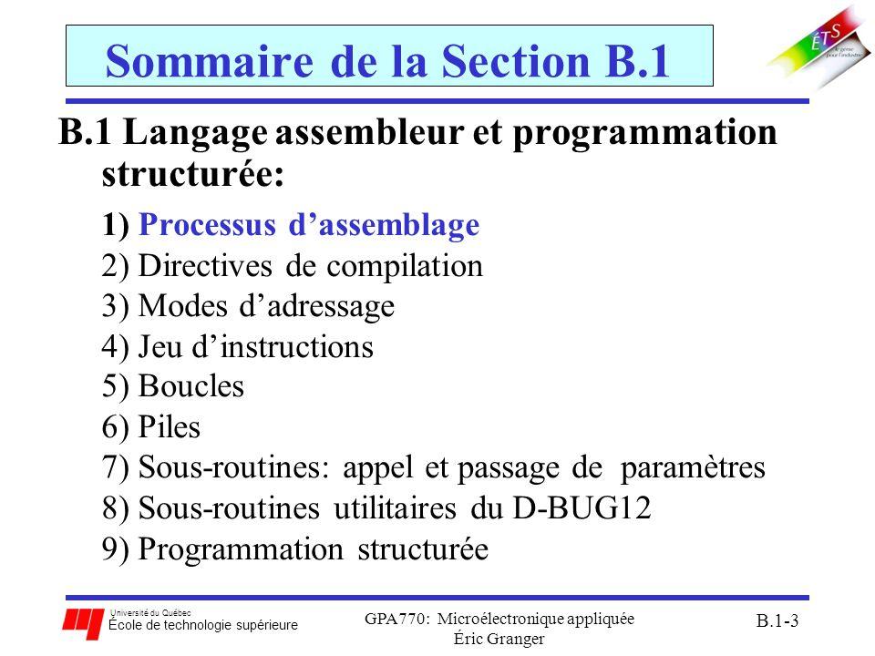 Sommaire de la Section B.1