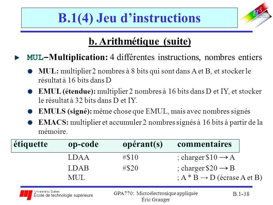 B.1(4) Jeu d'instructions