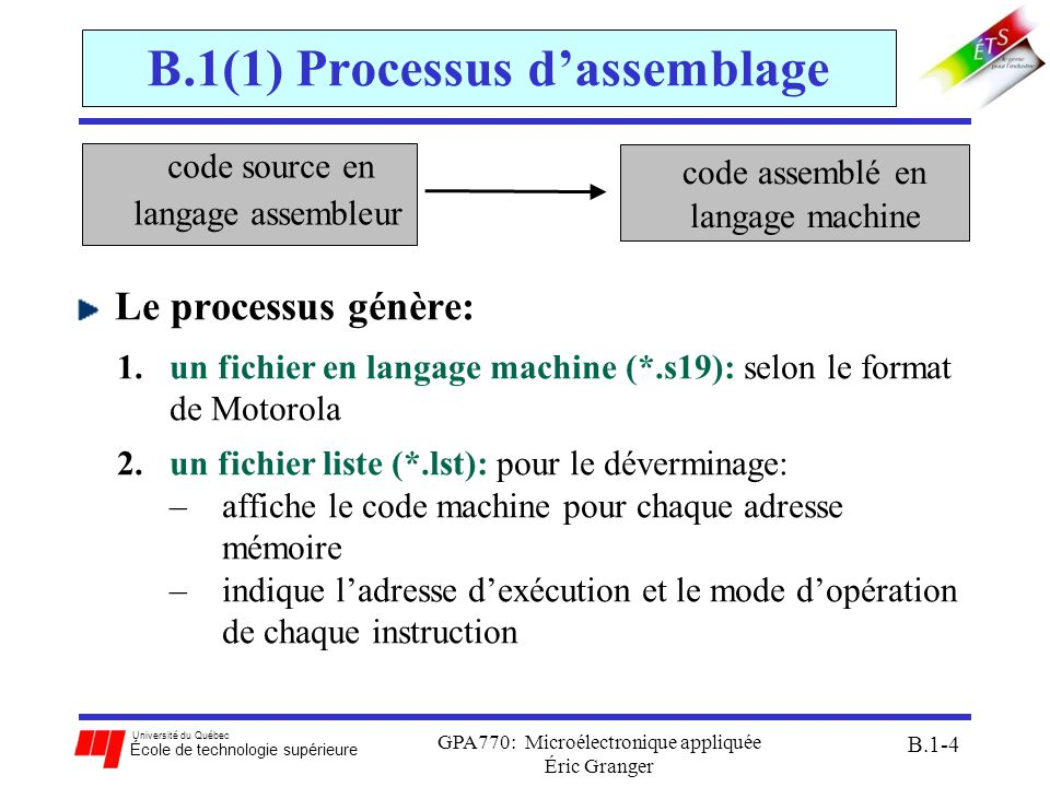 B.1(1) Processus d'assemblage