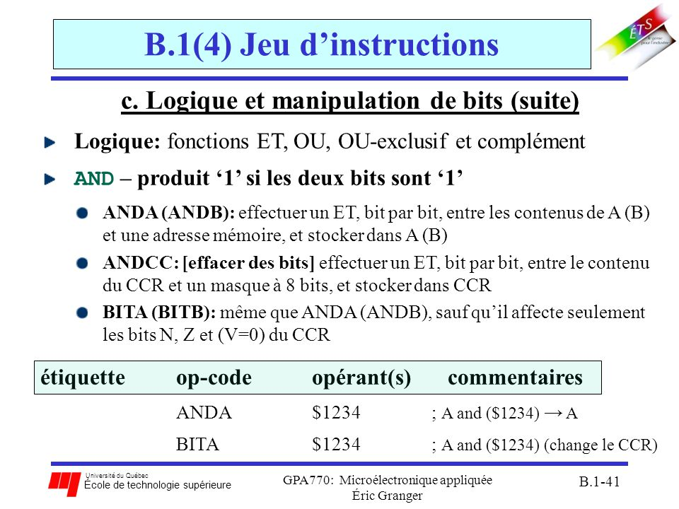 B.1(4) Jeu d'instructions