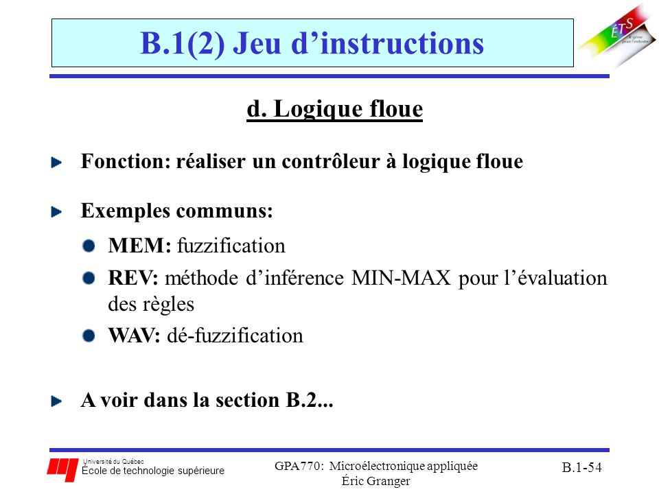 B.1(2) Jeu d'instructions
